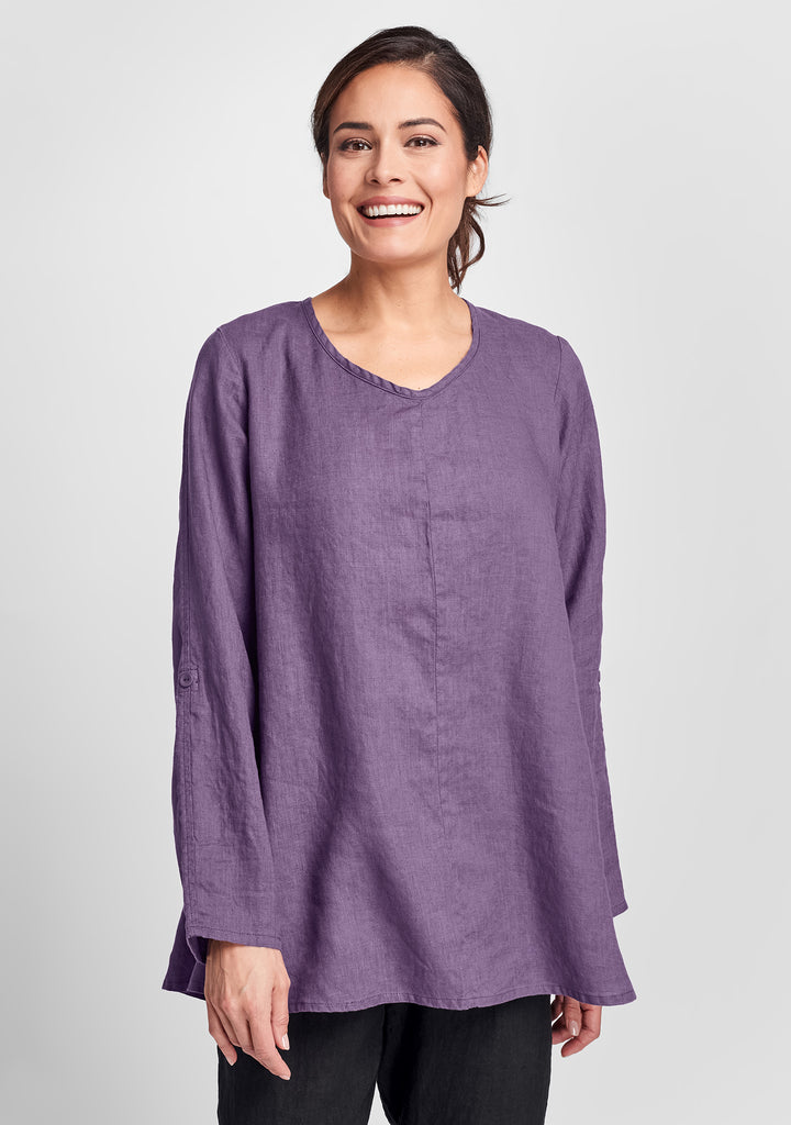 flourish pullover long sleeve linen shirt purple