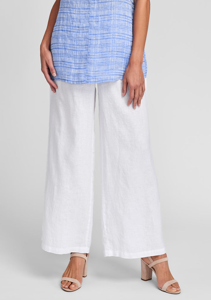 flowing pant wide leg linen pants white