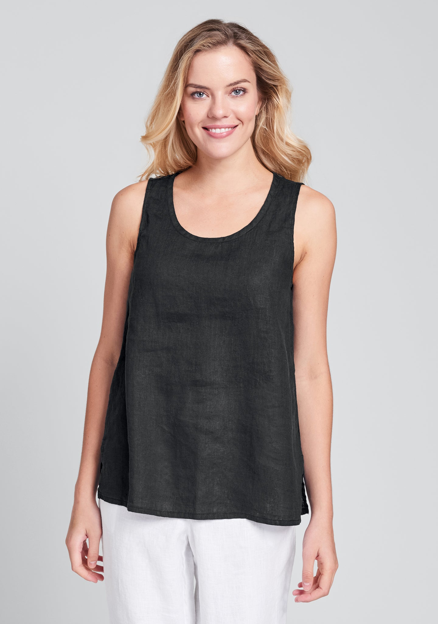 fundamental tank linen tank top black