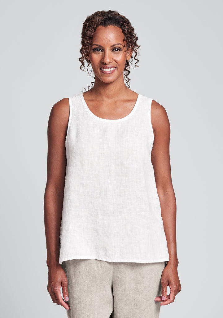 fundamental tank linen tank top white