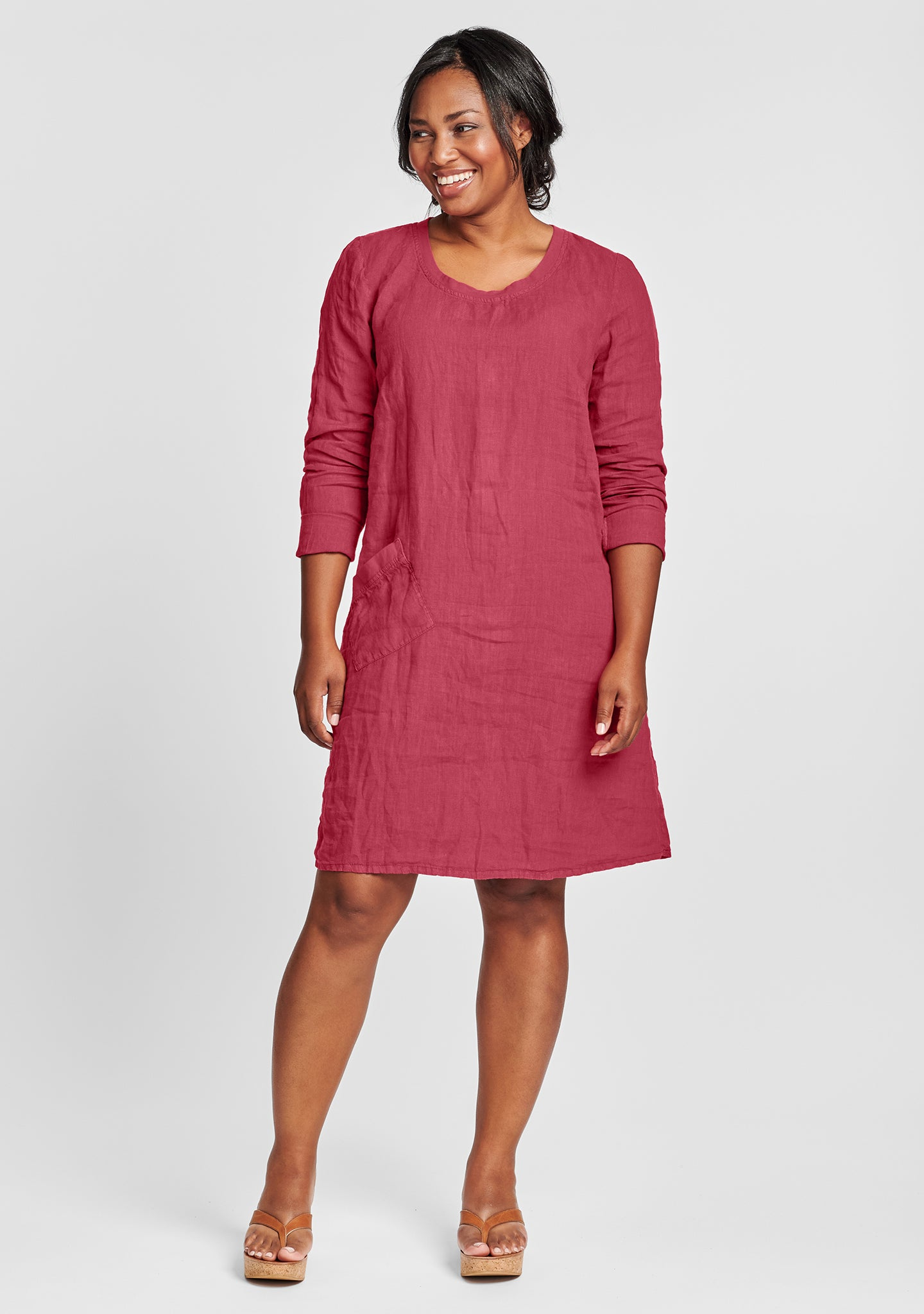 gallery dress long sleeve linen dress red