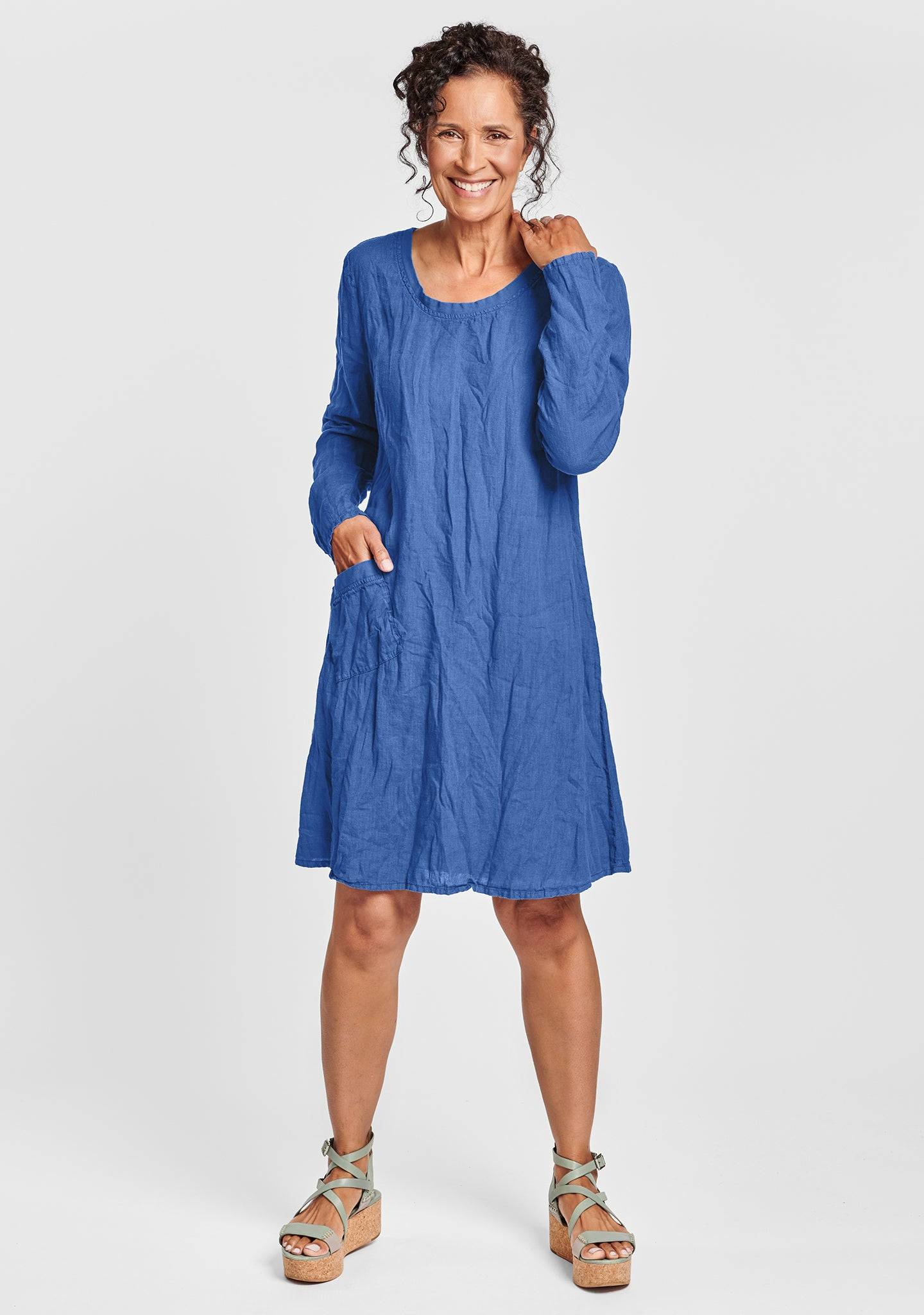 gallery dress long sleeve linen dress blue