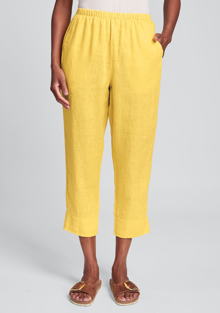 garden crop linen crop pants yellow