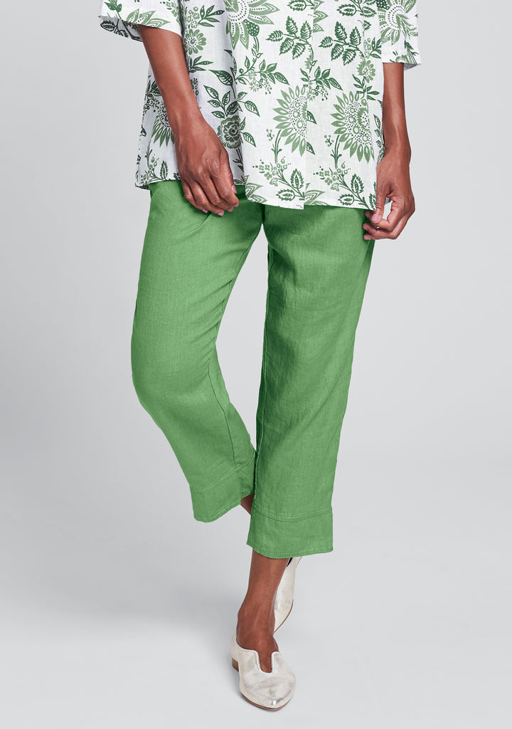 garden crop linen crop pants green