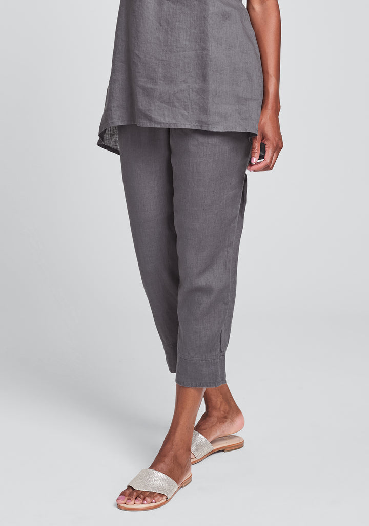 garden crop linen crop pants grey