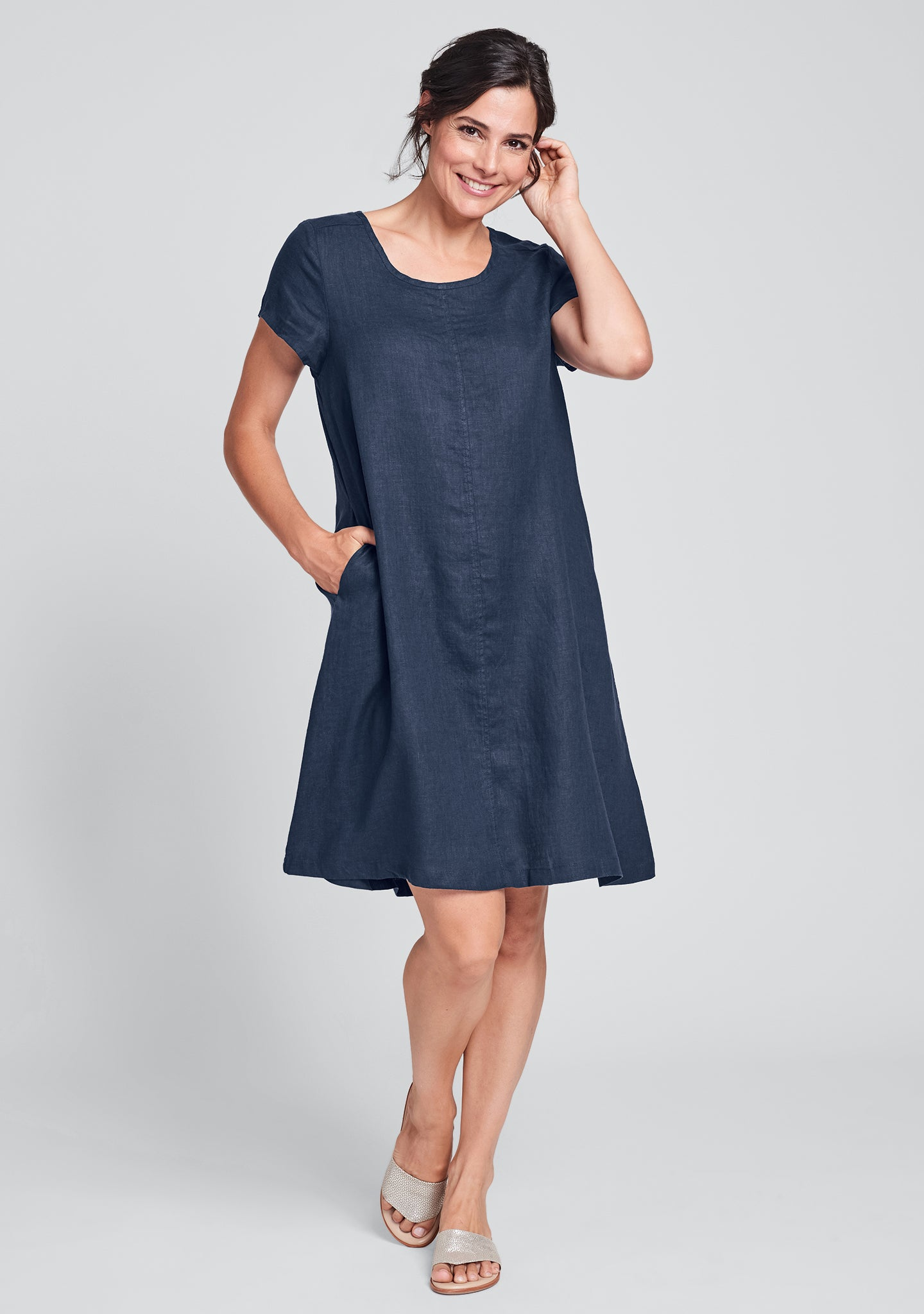garden party dress linen shift dress blue