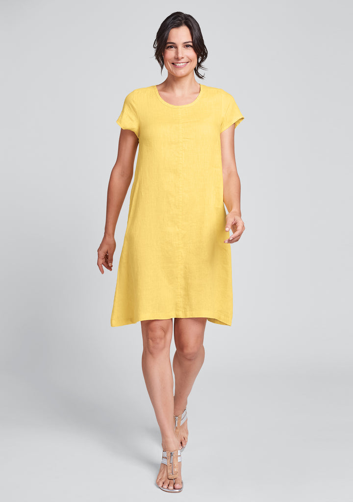 garden party dress linen shift dress yellow