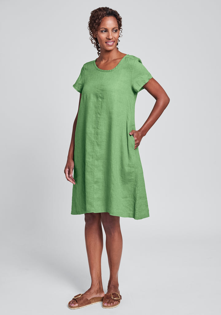 garden party dress linen shift dress green
