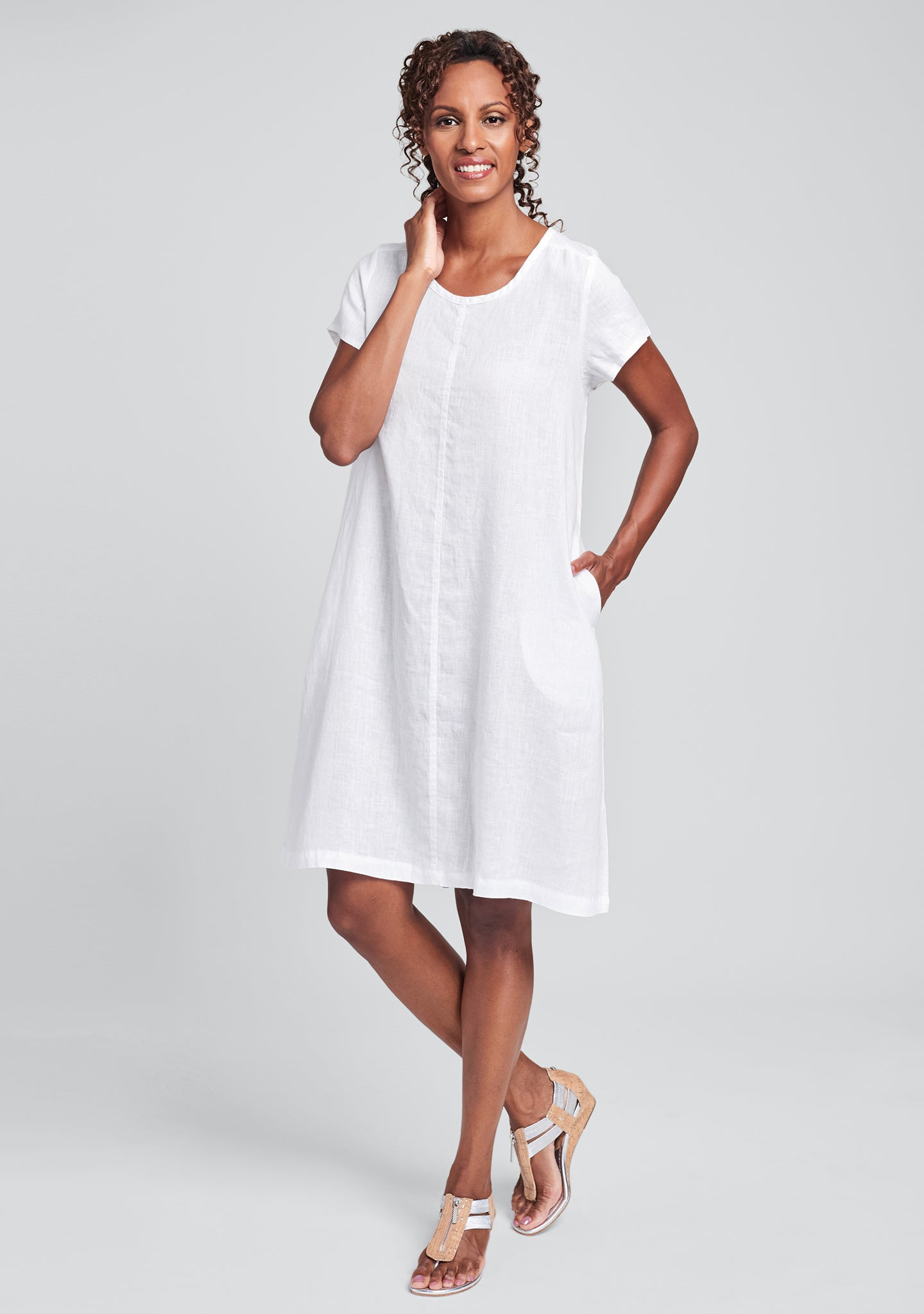 garden party dress linen shift dress white