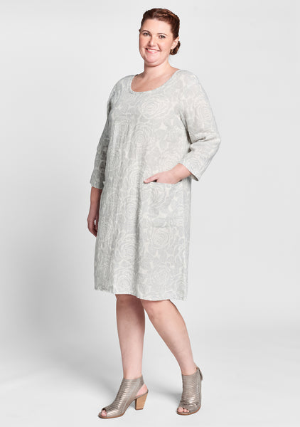 happy gathers dress linen dress white