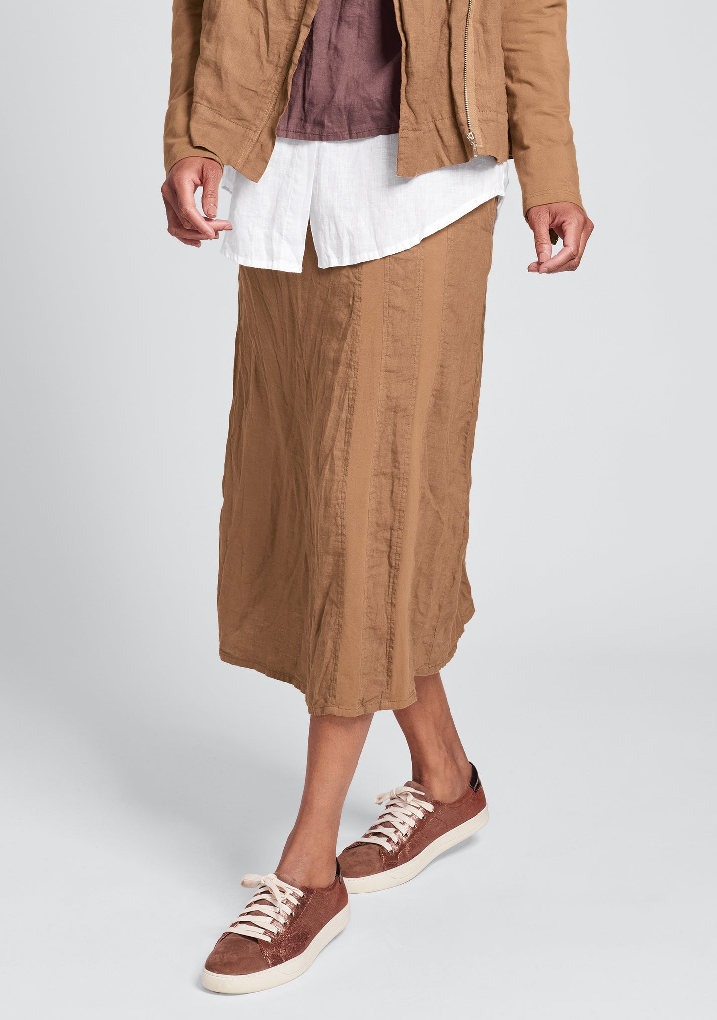 harbor skirt linen drawstring skirt orange