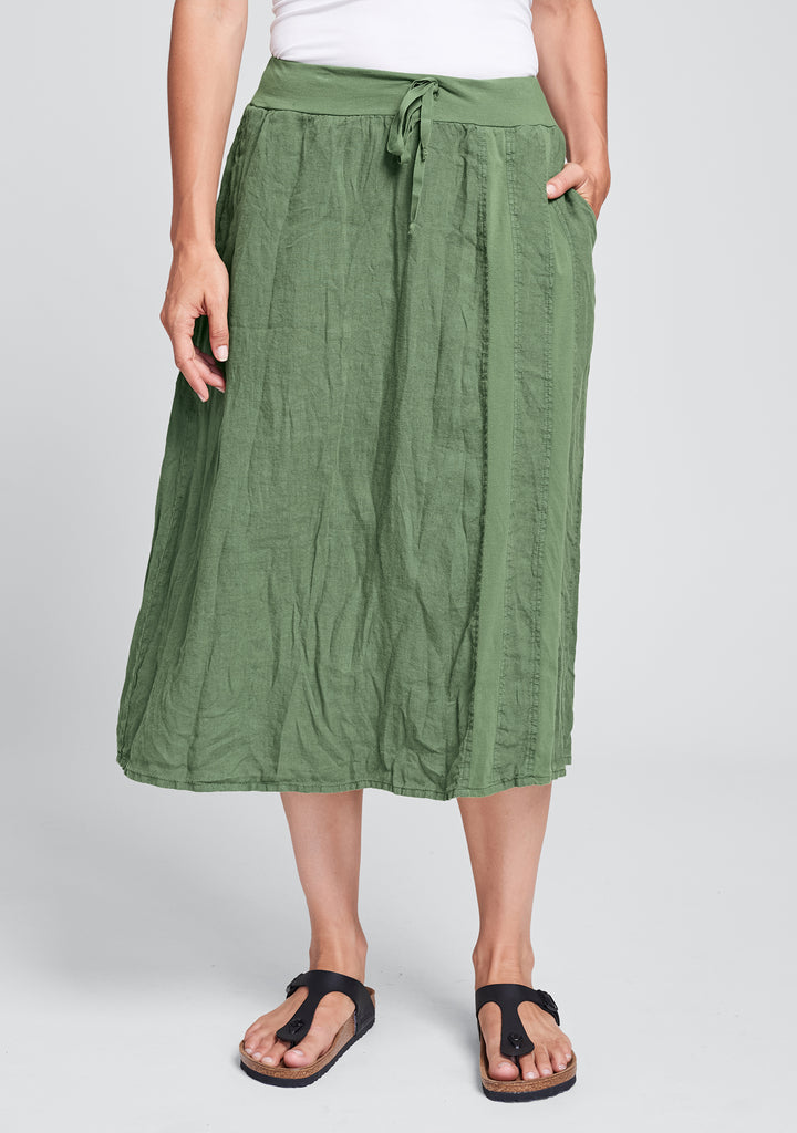 harbor skirt linen drawstring skirt green