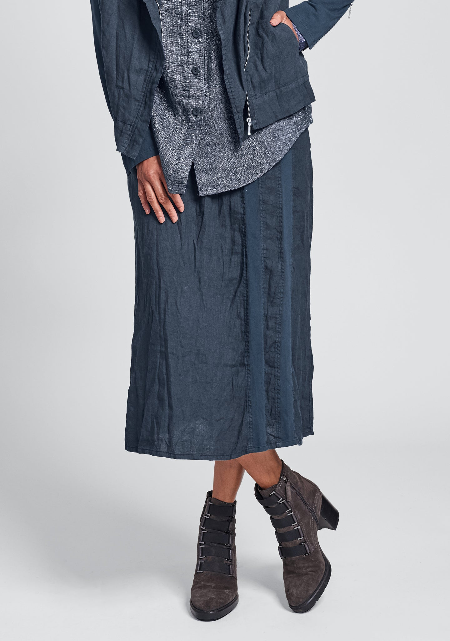 harbor skirt linen drawstring skirt blue