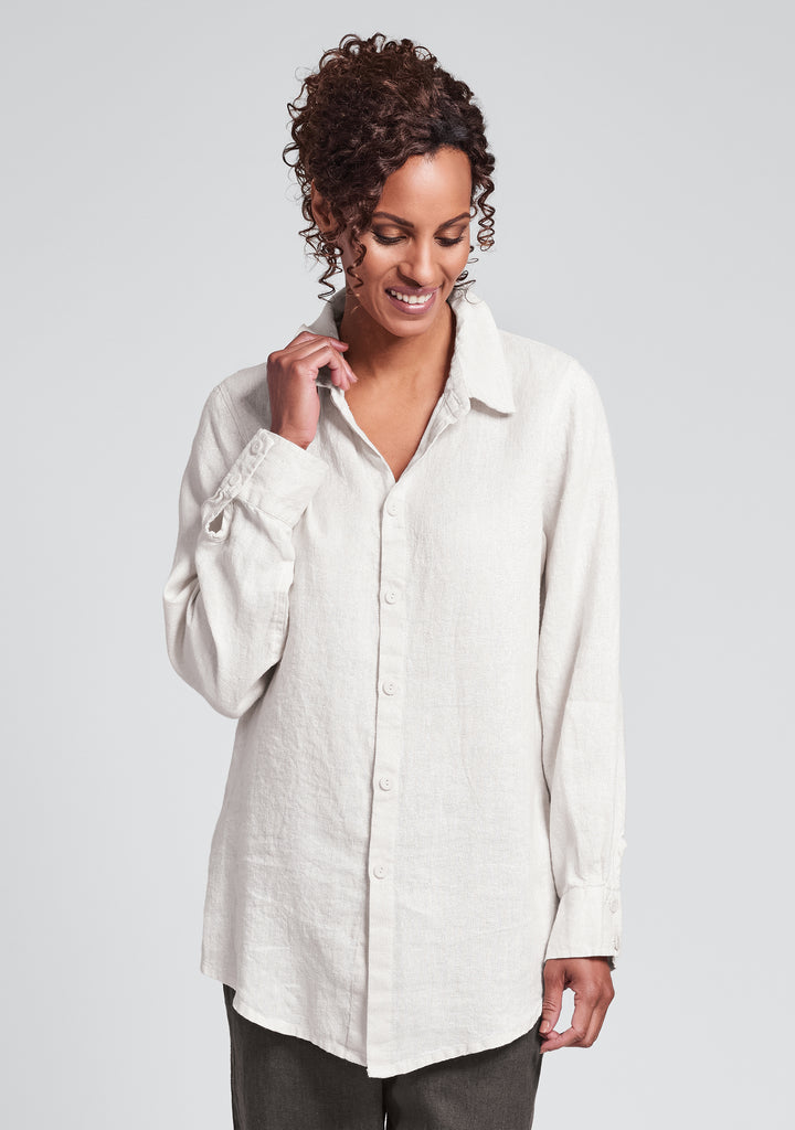 hepburn blouse linen button down shirt white