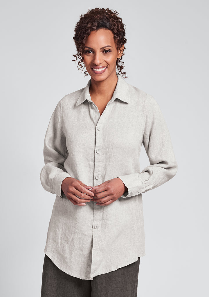 hepburn blouse linen button down shirt natural