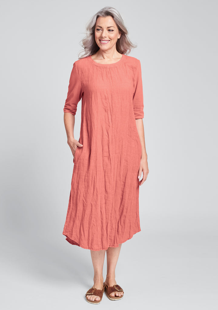 horizon dress linen maxi dress red