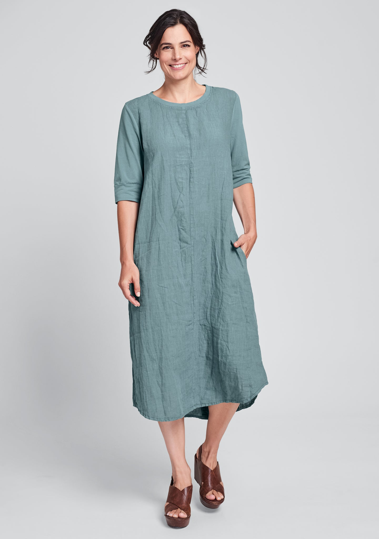 horizon dress linen maxi dress green