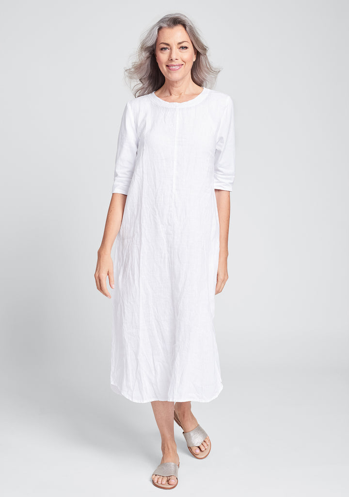 horizon dress linen maxi dress white