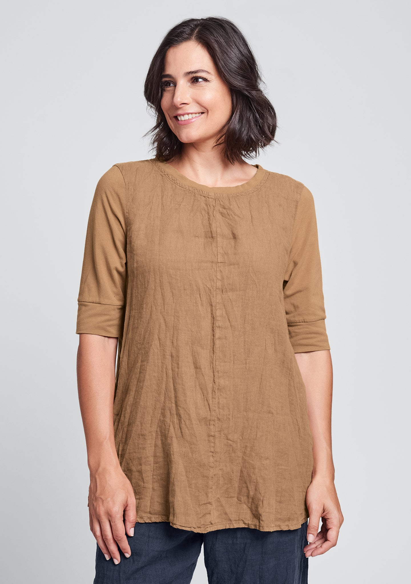 horizon tunic linen shirt orange