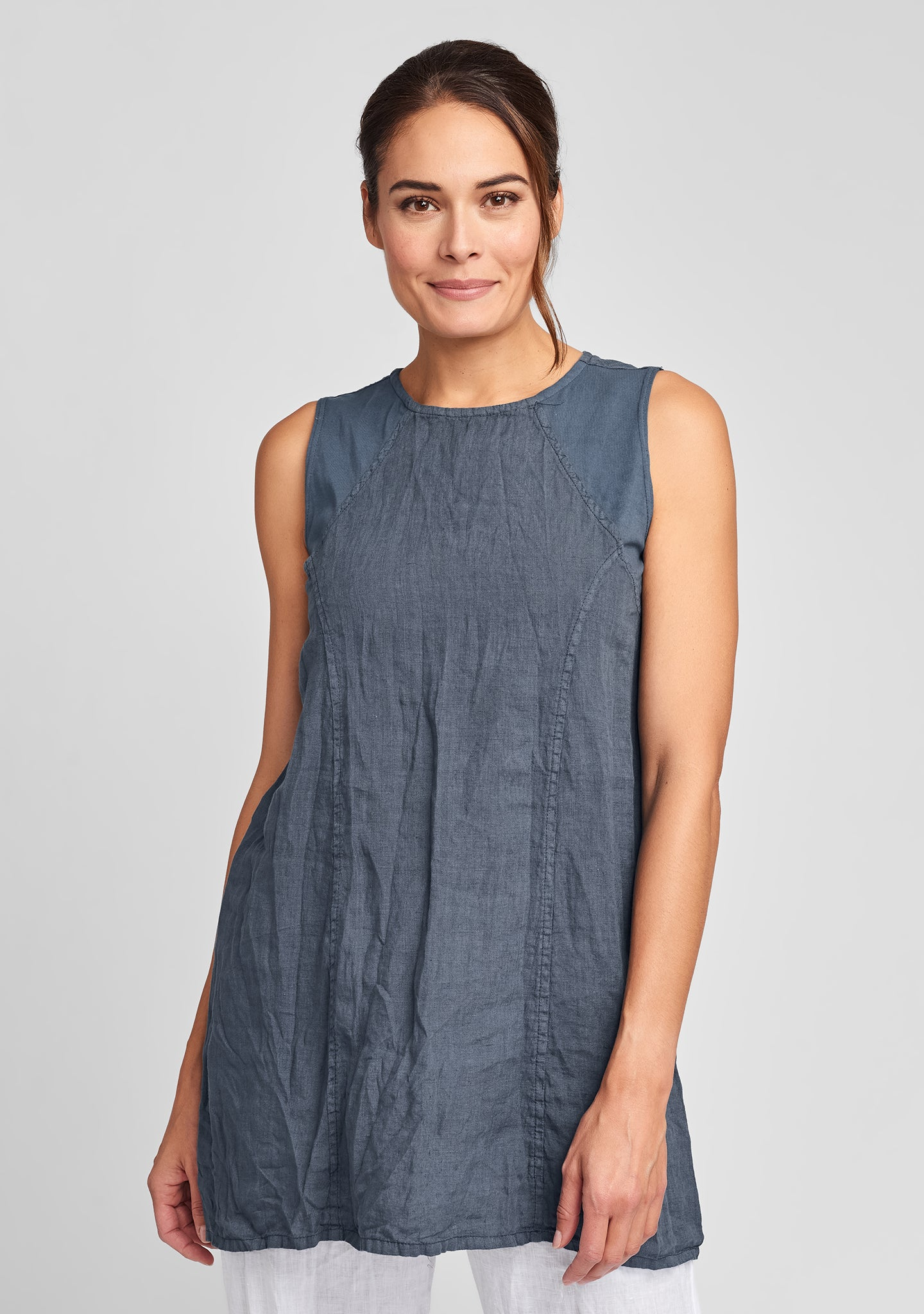 hudson tunic linen tank top blue