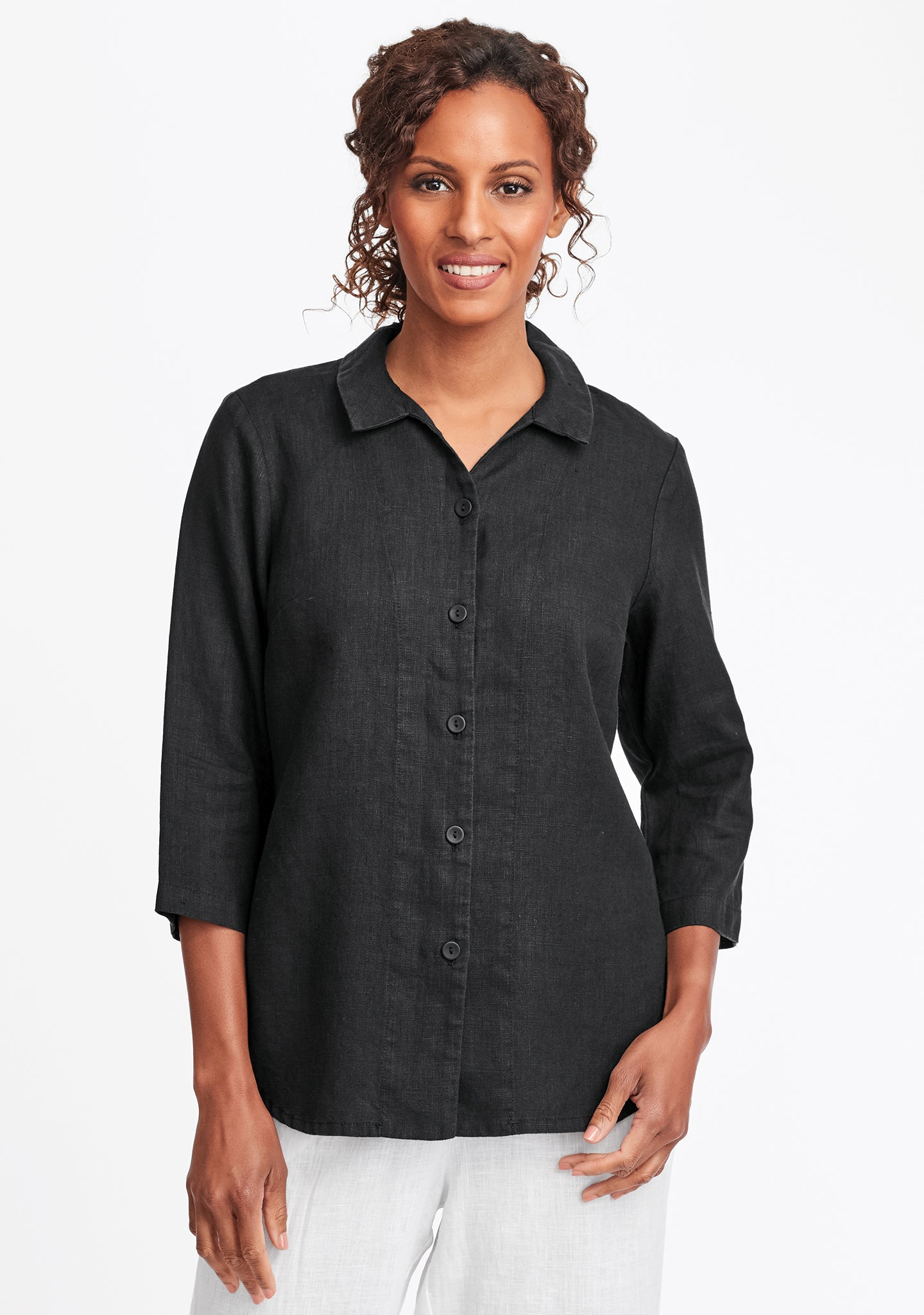 in-line blouse linen button down shirt black