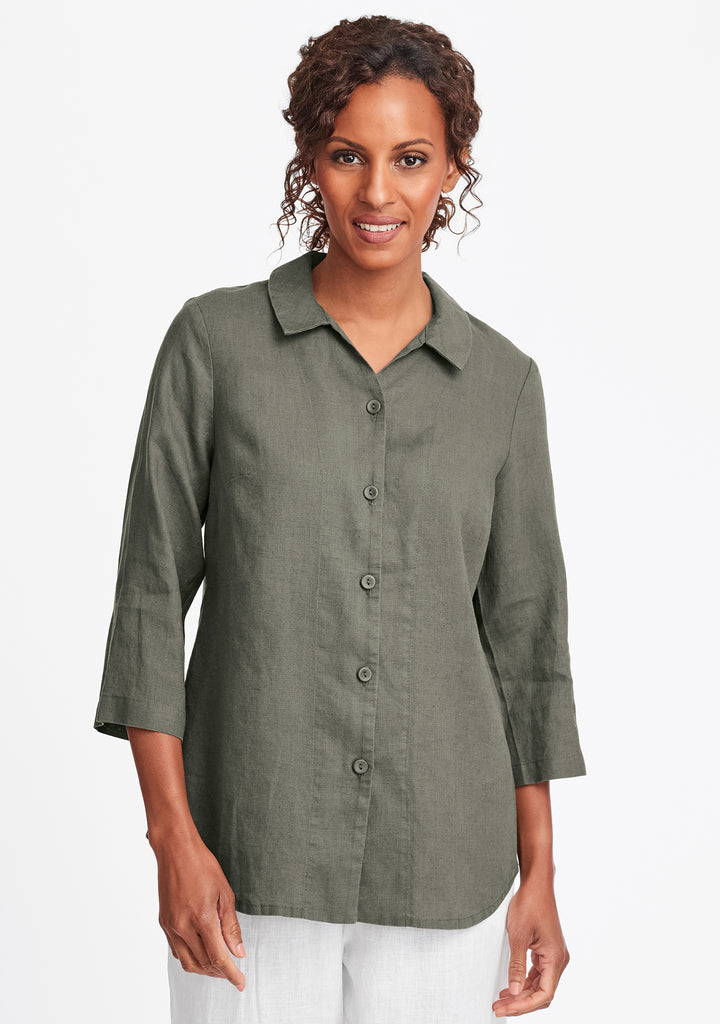 in-line blouse linen button down shirt green