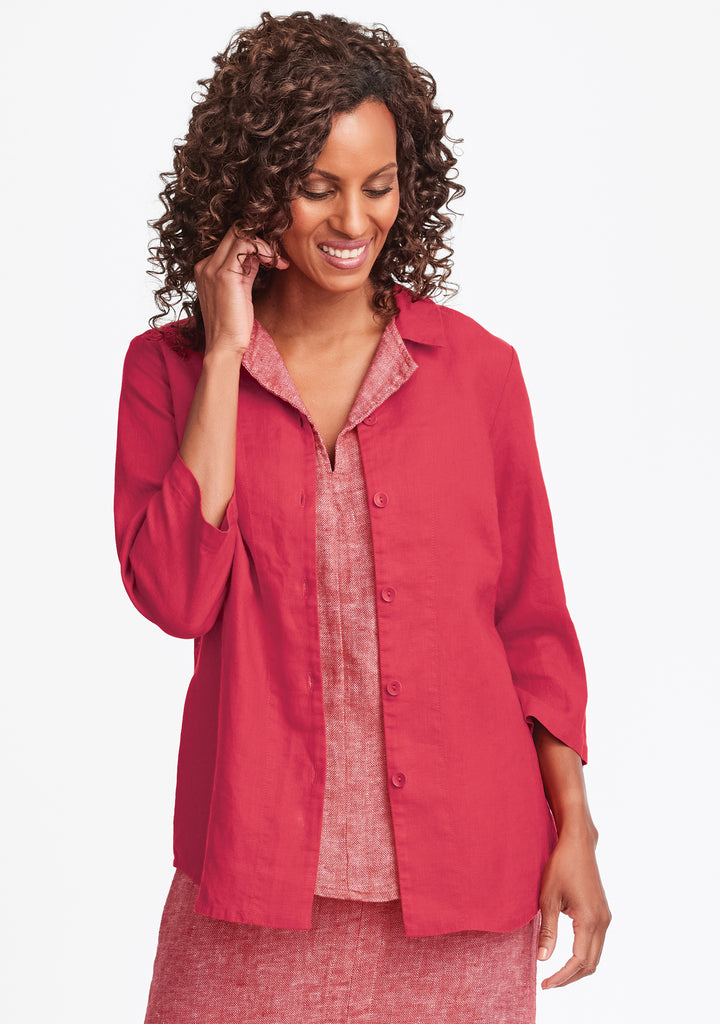 in-line blouse linen button down shirt red