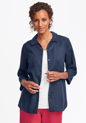 in-line blouse linen button down shirt blue