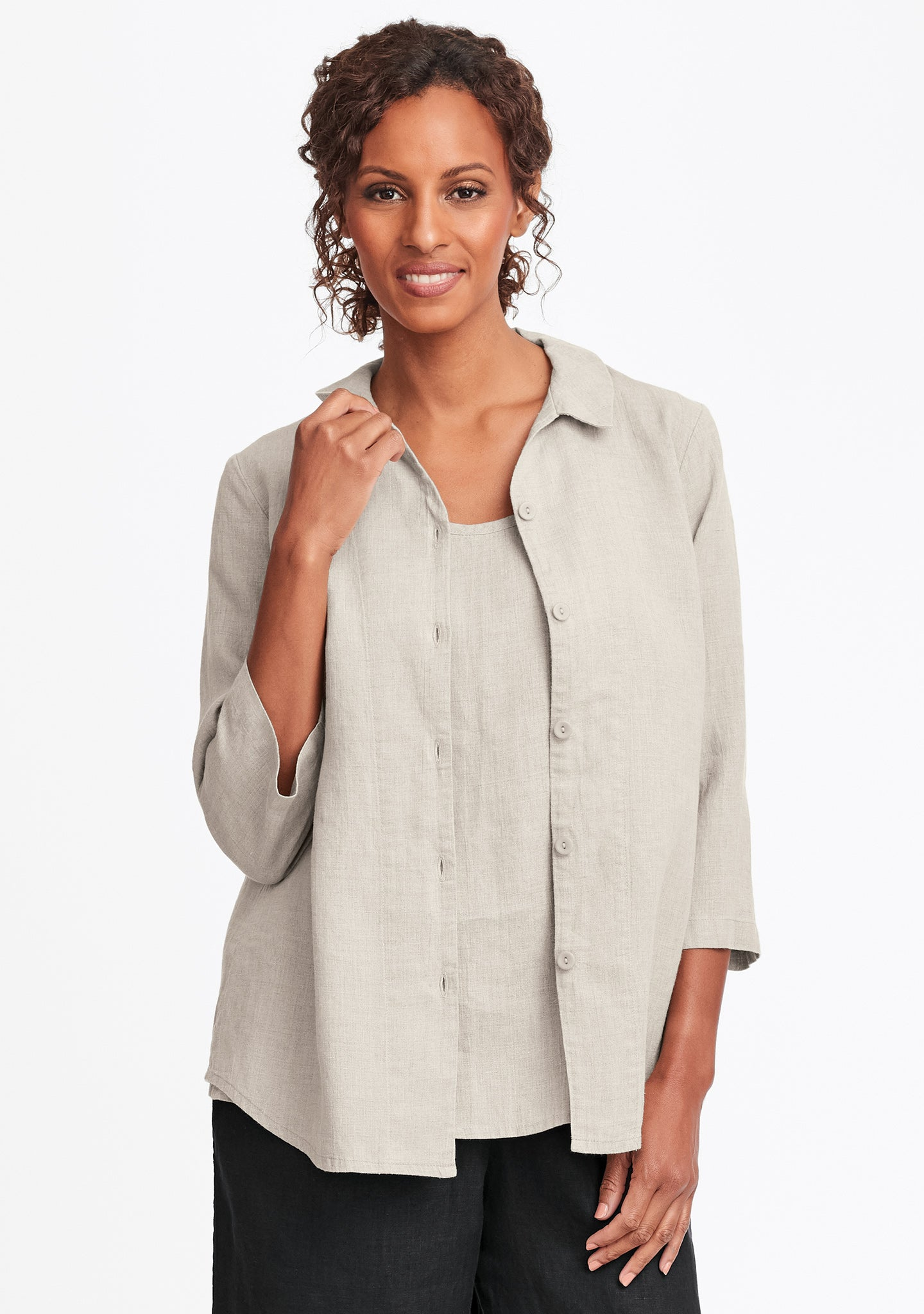 in-line blouse linen button down shirt natural