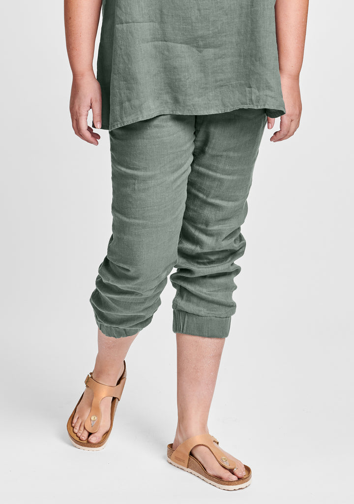 joggers linen pants with elastic waist green