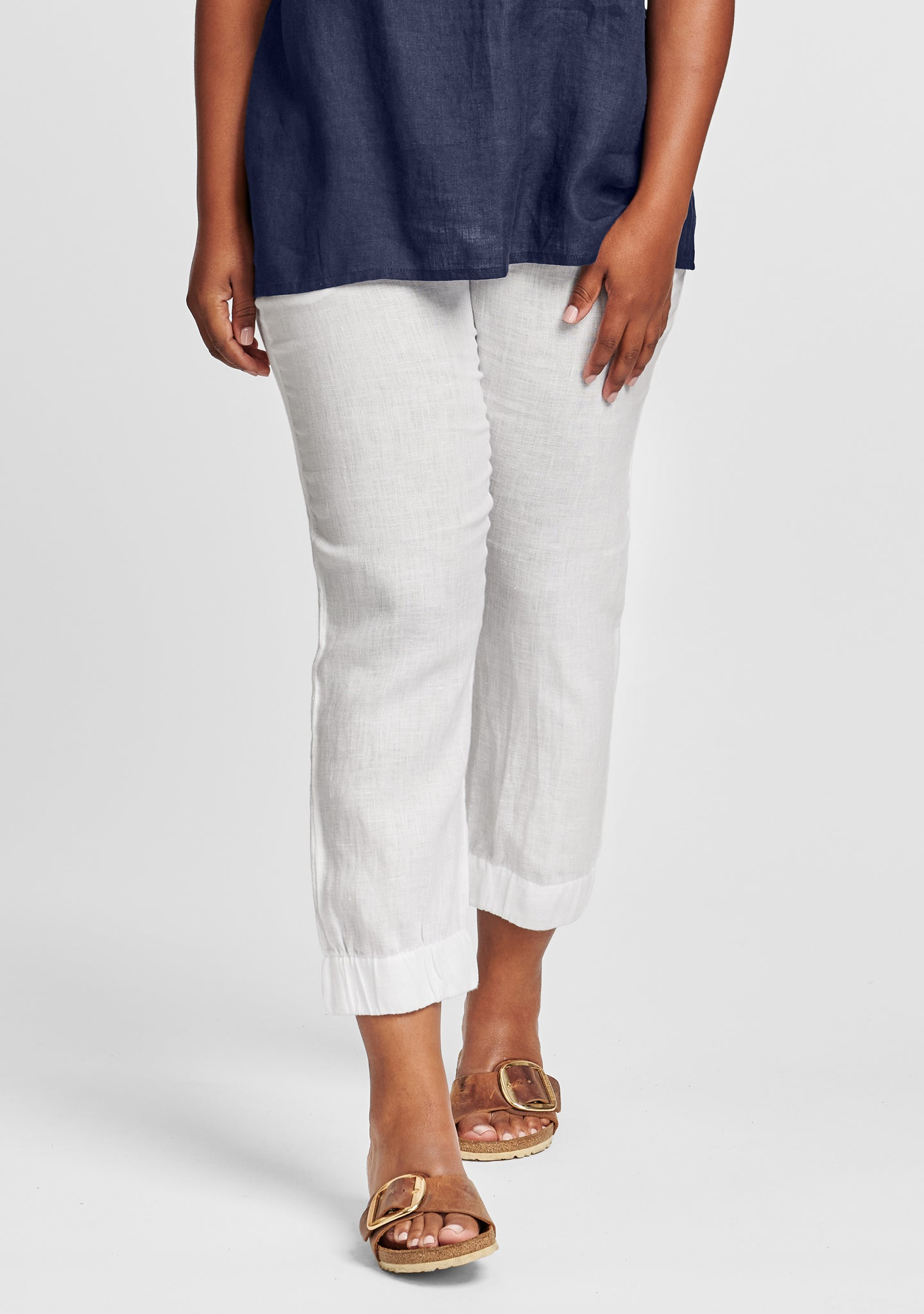 joggers linen pants with elastic waist white