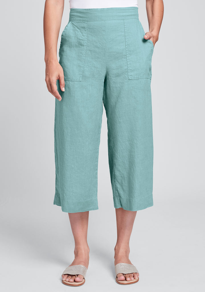 kate pant linen crop pant blue