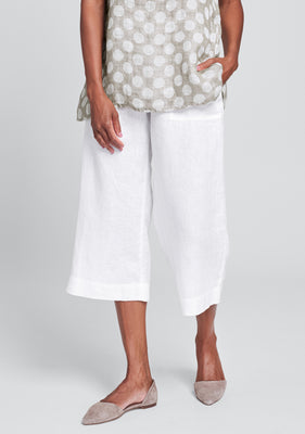 kate pant linen crop pant white