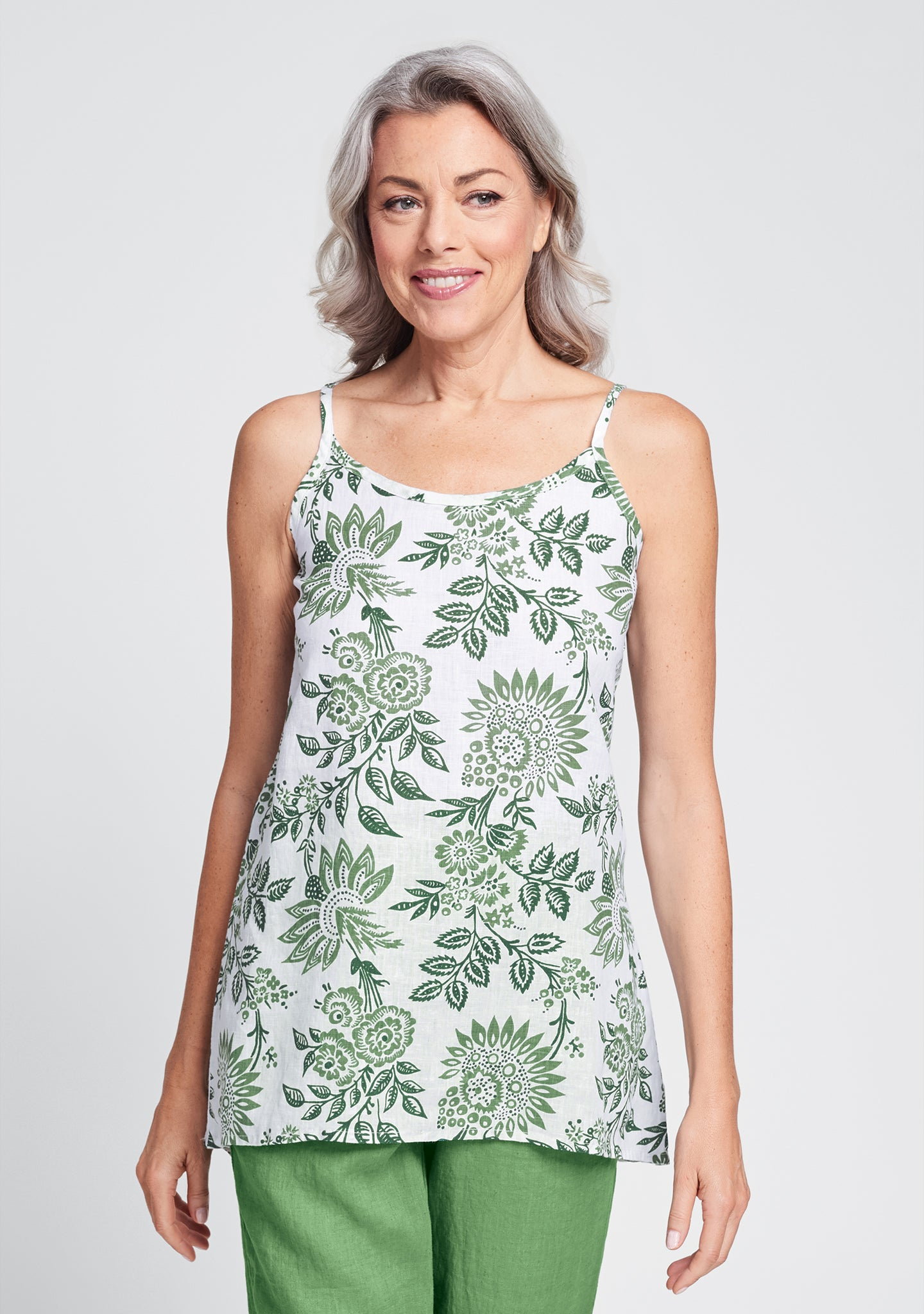 late night cami linen tank top green