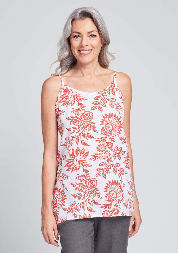late night cami linen tank top red