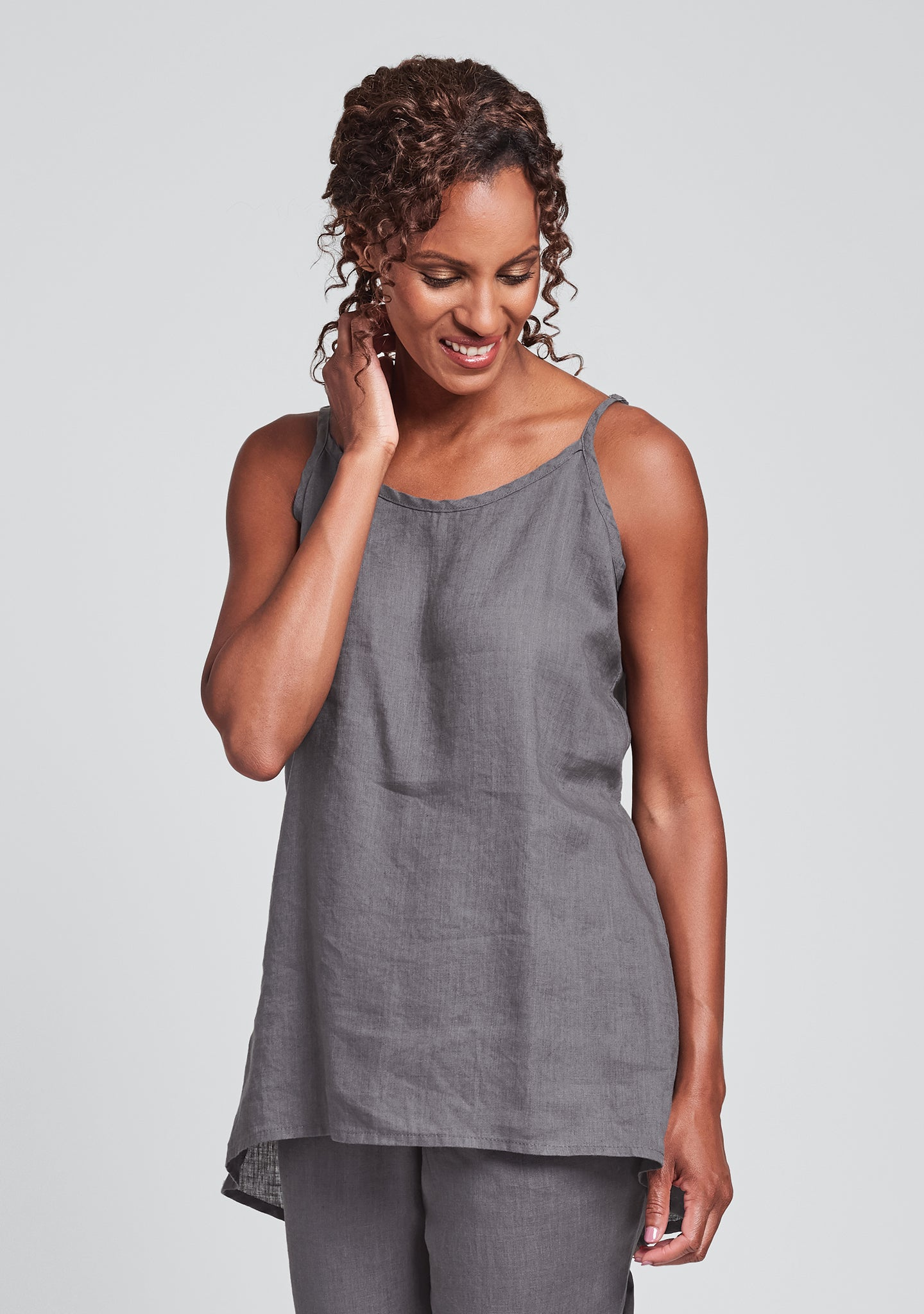 late night cami linen tank top grey