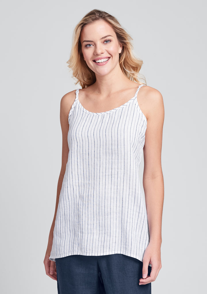 late night cami linen tank top blue