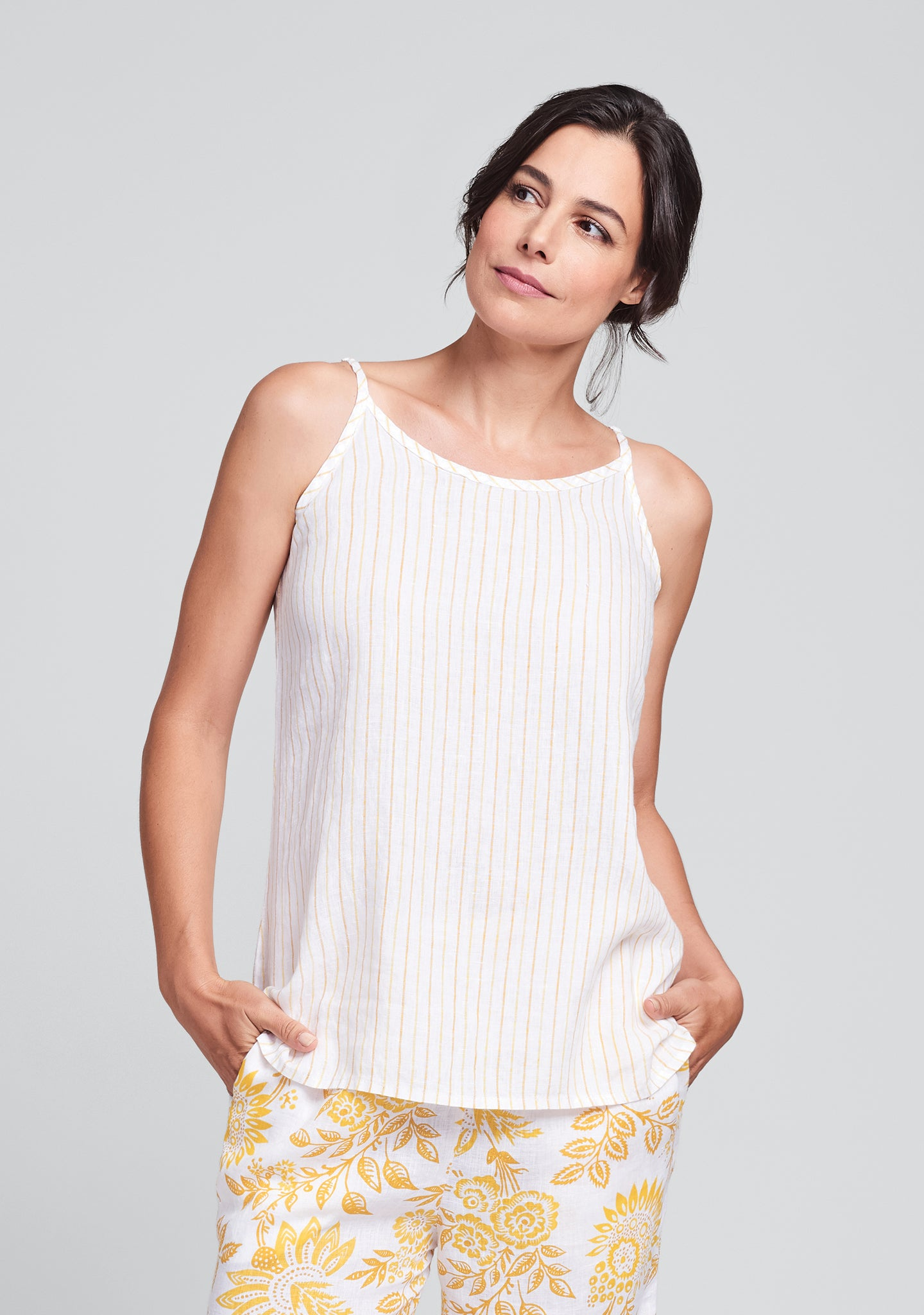 late night cami linen tank top yellow
