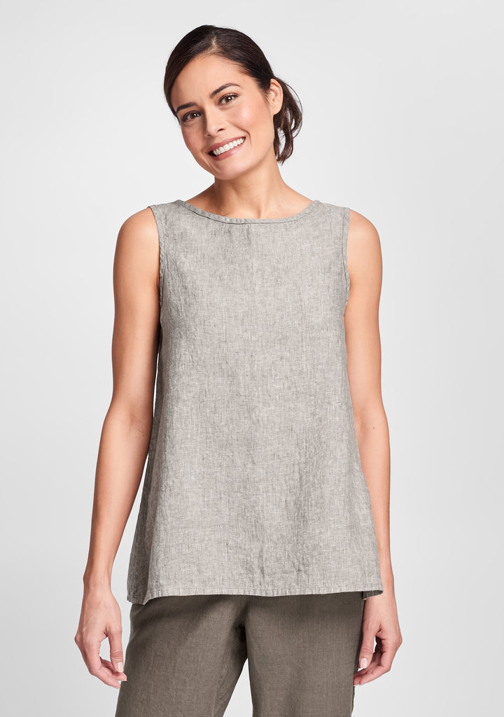 layer tank linen tank top brown