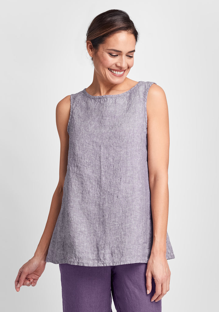 layer tank linen tank top purple