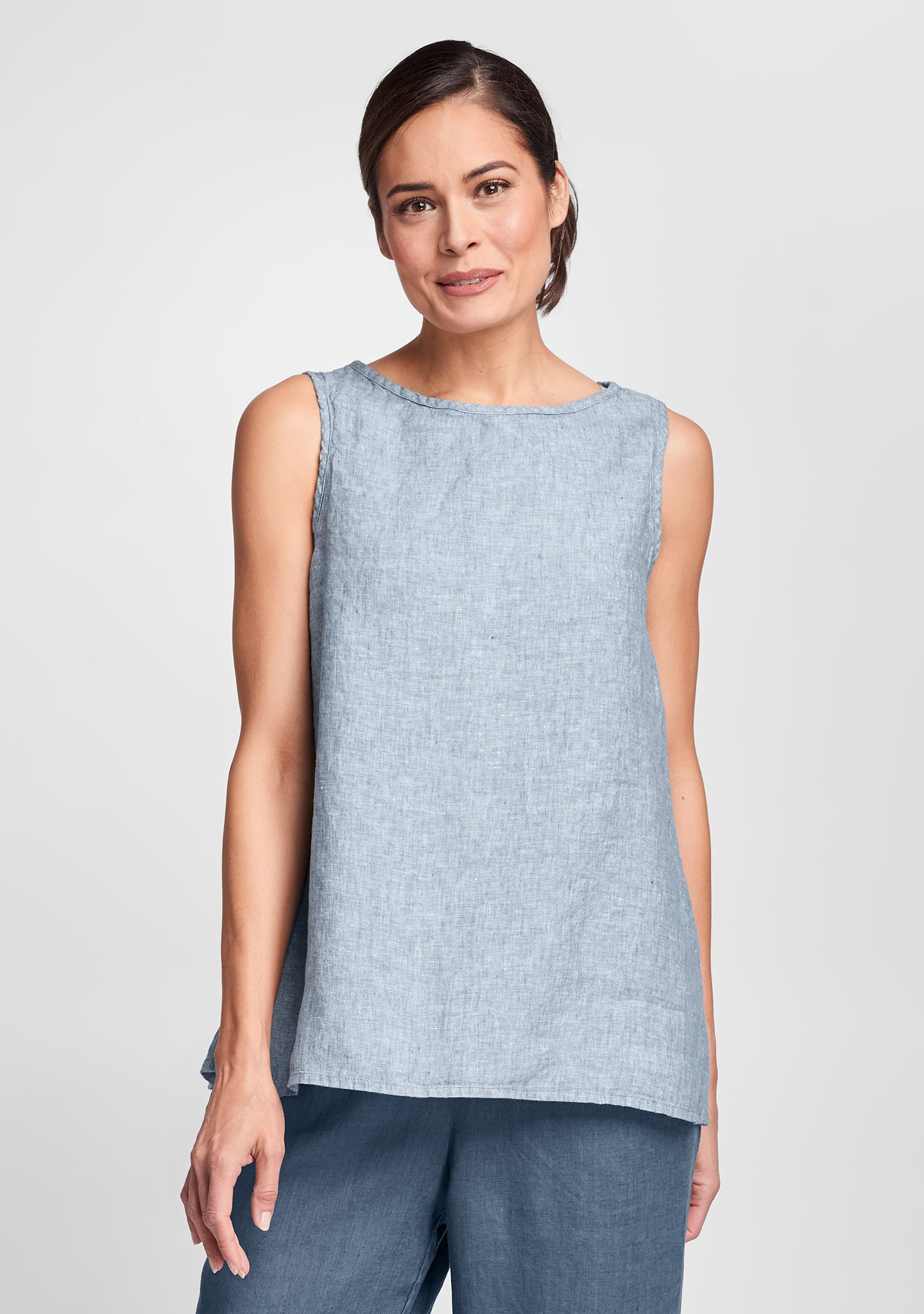 layer tank linen tank top blue