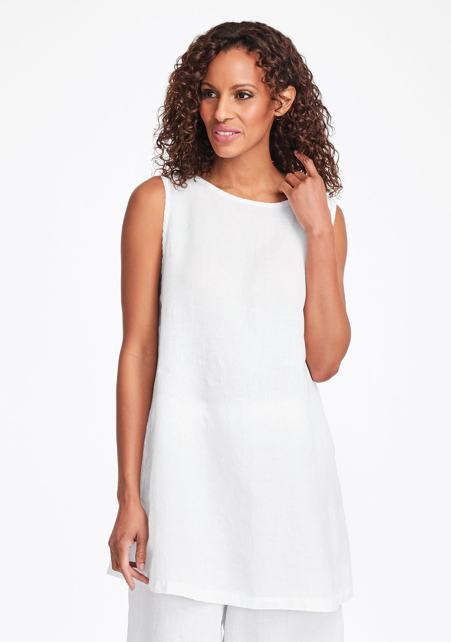 layer tunic linen tank top white