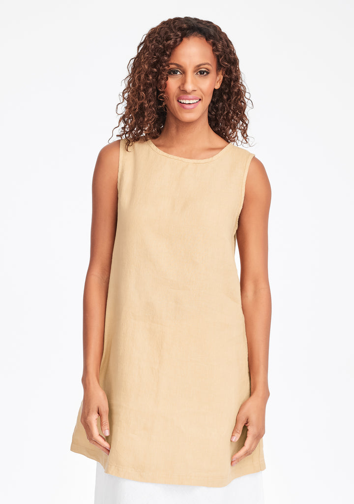 layer tunic linen tank top yellow