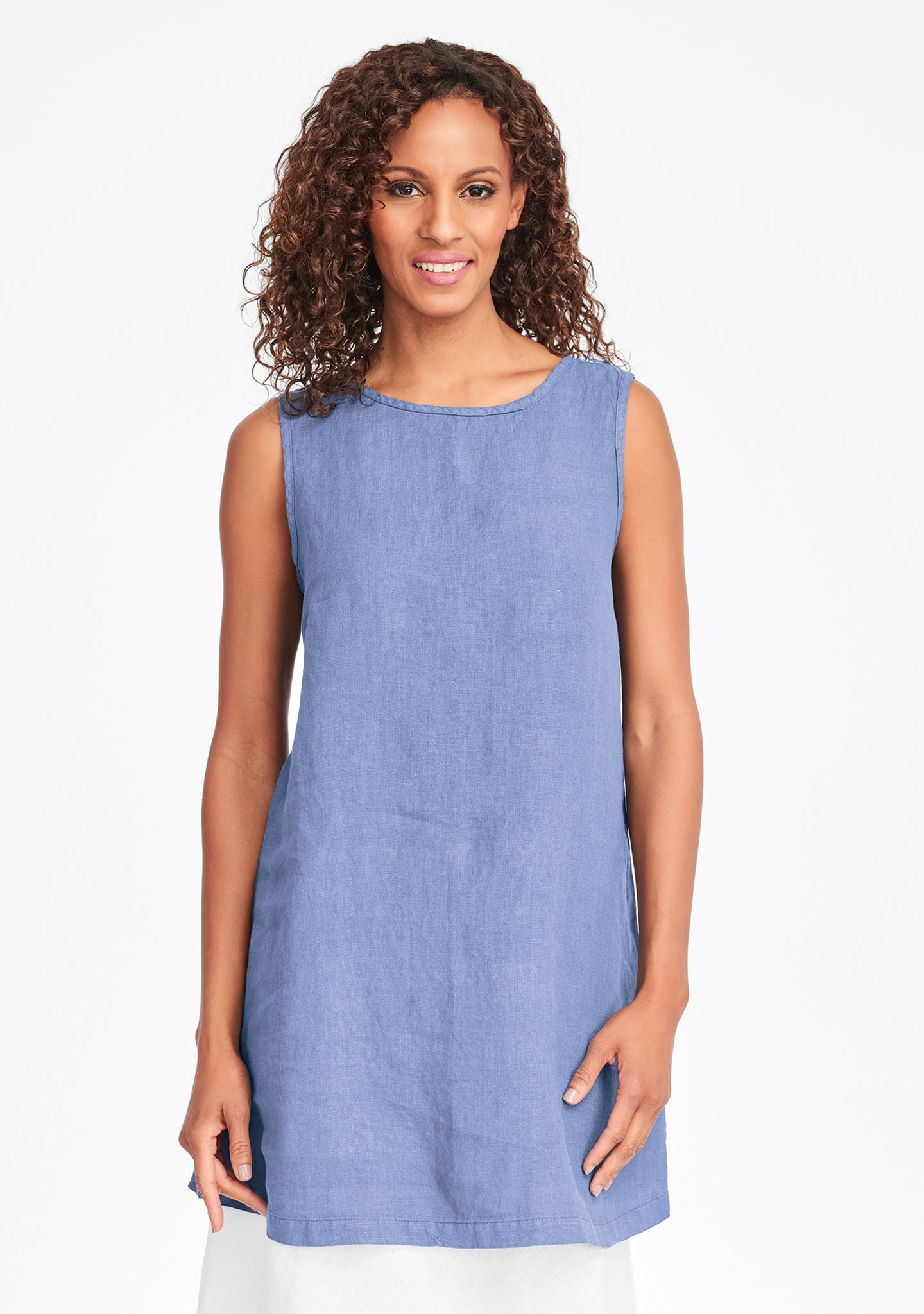 layer tunic linen tank top blue