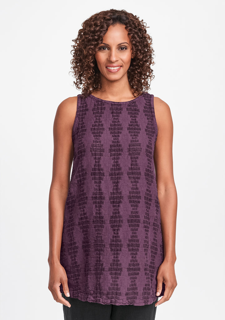 layer tunic linen tank top purple