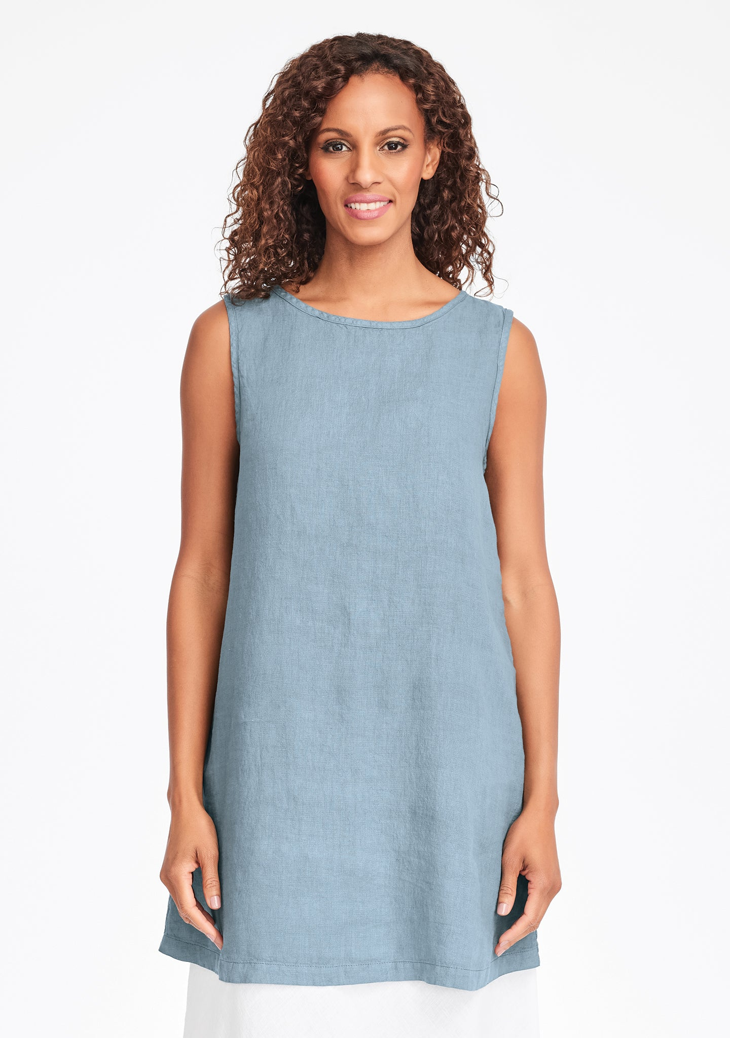 layer tunic linen tank top green