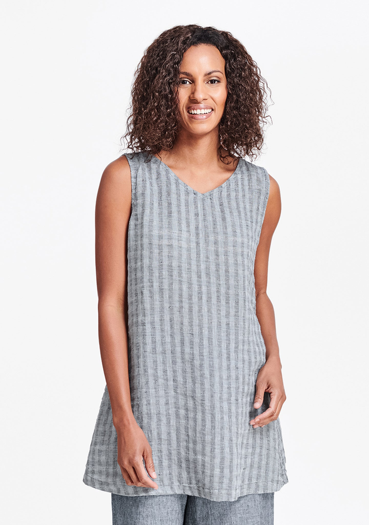 layer v-neck tunic blue