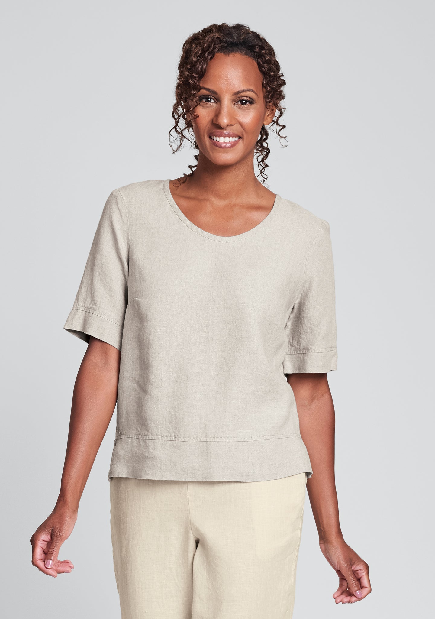 linear crop linen shirt natural