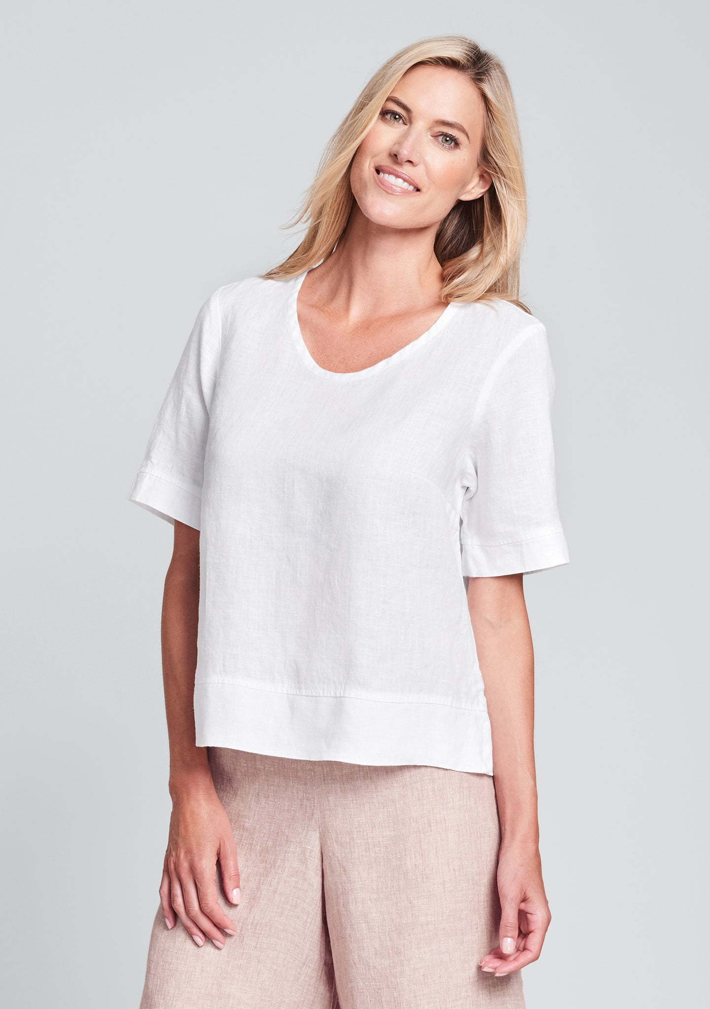 linear crop linen shirt white