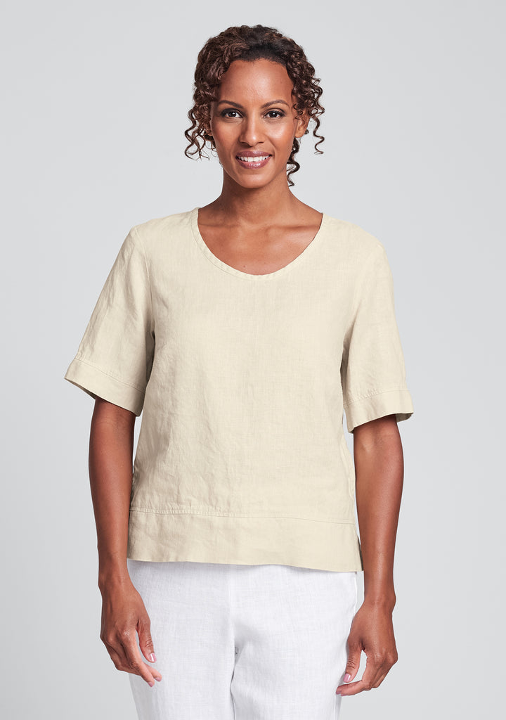 linear crop linen shirt yellow